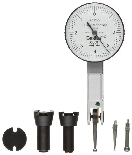 "Brown & Sharpe 599-7032-6 Dial Test Indicator Set, Top Mounted, M1.4X0.3 Thread, White Dial, 0-4-0 Reading, 1"" Dial Dia., 0-0.008"" Range, 0.0001"" Graduation, +/-0.0001"" Accuracy back-591984"