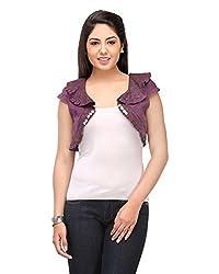 Cappadocia Women's Slim Fit Shrug (Cap00006 Plum_M, Purple, Medium)