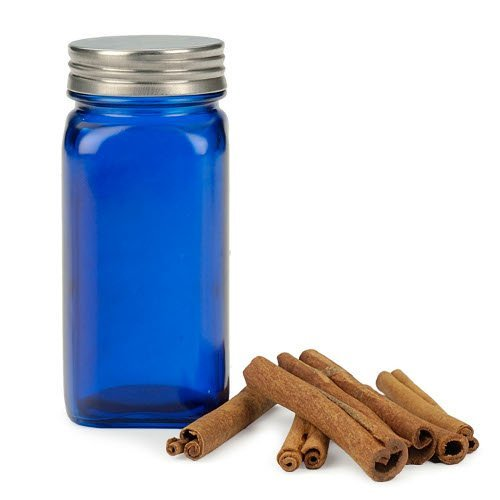 RSVP Square Blue Glass Spice Jar With Brushed Stainless Steel Lid Set Of 12