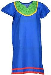 Anshul Textile Women's Cotton Regular Fit Kurta (Blue)