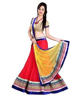 KAYA-FAB-Womens-Net-Lehenga-Choli-mm766-Red-Free-Size