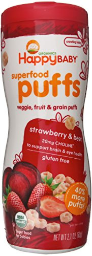 Happy Baby Organic Superfood Puffs, Strawberry & Beet, 2.1 Ounce (Pack of 6) (Wheat Free Baby Food compare prices)