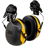 3M Hard Hat H-711R, Tan, 4-Point Ratchet Suspension (Pack of 1) & 3M Peltor X-Series X2P3E Cap-Mount Earmuffs, NRR 24 dB, One Size Fits Most, Black/Yellow X2P3E (Pack of 1)