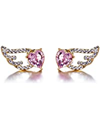 YELLOW CHIMES Swarovski Elements Pink Crystal Wings Earrings For Women And Girls