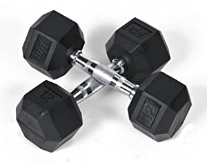 j/fit 12lb Rubber Hex Dumbbells (Pair)