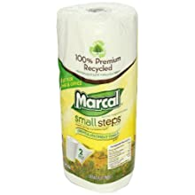 "Marcal 6709-01 Small Steps 100% Premium Recycled Paper Towel Roll, 2-Ply, 9"" Width x 11"" Length, White, 60 Sheets per Roll (Pack of 15)"