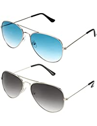 Sheomy Unisex Combo Pack Of Aviator Sunglasses For Girls And Boys - Mirrored Sunglasses ( Silver Black - Silver...