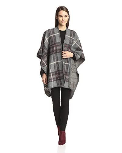 Evelyn K Women's Plaid Ruana, Gray As You See