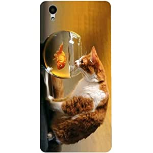 Casotec Cat and Fish Design 3D Printed Back Case Cover for Vivo Y51L