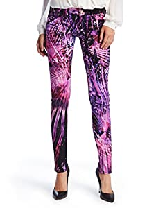 GUESS by Marciano Women's The Skinny No. 61 Jean in Warm Palm Noir Print