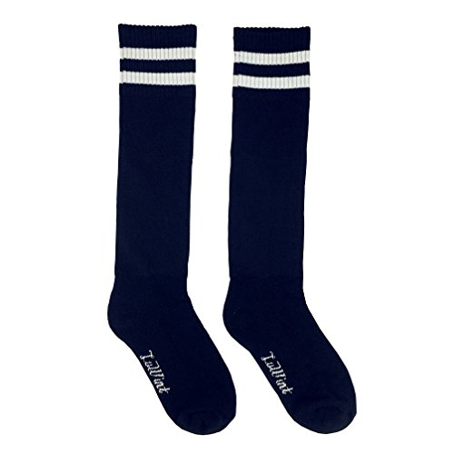 Coostyle Children Cotton Thicken Long Soccer Socks (Black/ White)