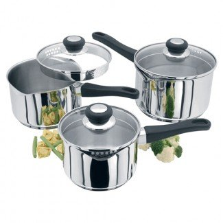 Judge Vista - Draining 3 Piece Set (PP254) (14,16,18cm) 3 Piece Saucepan Set PP254 14 16 18cm . As shown
