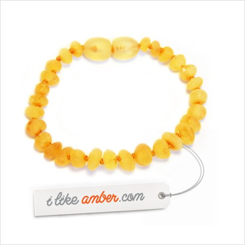 iLikeAmber.com - 14cm Raw unpolished Genuine Baltic Amber Teething Bracelet Anklet - Child Baby size - Honey color Beads