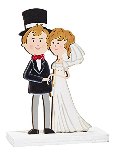 Hochzeit dekoration figurine jeunes mariés en bois 12 cm