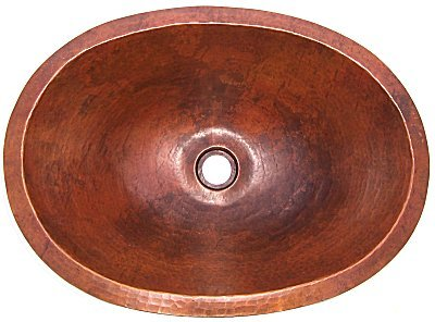 Terra Undermount Hammered Oval Bathroom Copper Sink