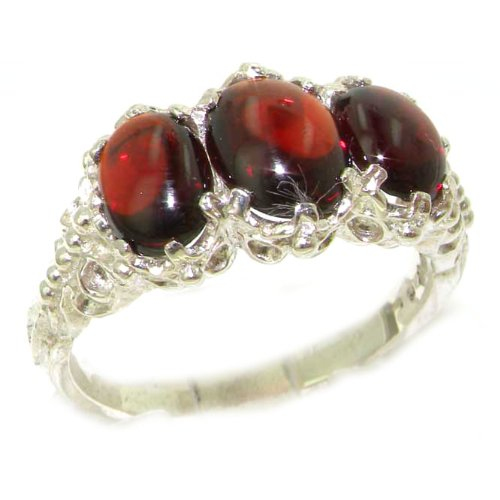 Victorian Design Solid English Sterling Silver Natural 3.3ct Cabochon Garnet Ladies Ring - Size 12 - Finger Sizes 5 to 12 Available - Suitable as an Anniversary ring, Engagement ring, Eternity ring, or Promise ring