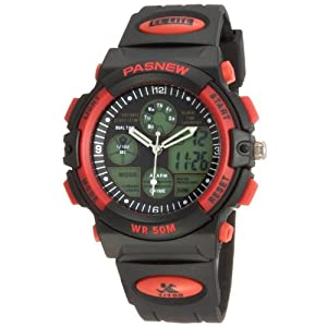 50m Water-proof Digital-analog Boys Girls Sport Digital Watch with Alarm Stopwatch Chronograph (Red)