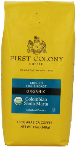 First Colony Organic Ground Coffee, Colombian Santa Marta, 12-Ounce