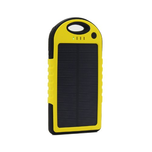 Expower 5000Mah Solar Panel And Waterproof Dustproof Shockproof Travel Charger Power Bank With Carabiner 2.1 A Output External Battery For Iphone 5 4S 4, Google Nexus 5 4, Android Smartphone, 5V Tablets, Google Glass, Bluetooth Headset (Yello+Black)