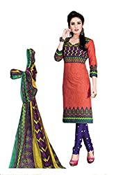 Pruthu Women's Cotton Unstitched Dress Material (pt_431_Pink_Free Size)