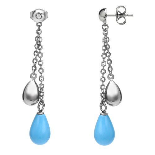 Stainless Steel with Turquoise Color Shell Pearl Dangle Earrings