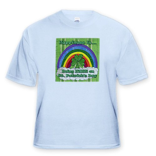 Retro 70s Being Irish St. Patricks Day Shamrock Art Print - Light Blue Infant Lap-Shoulder Tee (12M)