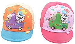 Kandyfloss Babies Caps - Pack of 2 Caps (MRHKFCAPS24, Multi-Colored, 3-6 Months)