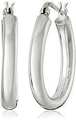 Sterling Silver 4mm Oval Tube Hoop Earrings