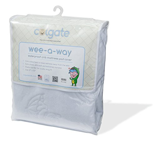 Colgate Wee-A-Way - Waterproof Crib Mattress Pad Cover, Extra Soft & Absorbant, Machine-Washable, Fitted with Elastic, White