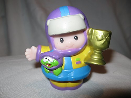 Fisher Price Little People Race Car Driver Eddie Holding Trophy Purple, Yellow And Blue Race Suit OOP 2004