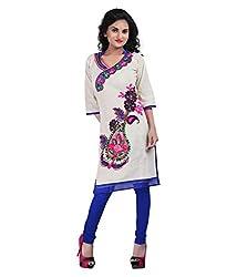 Shubh Women's Cotton Kurti (Shubh_174_Beige_Free Size)
