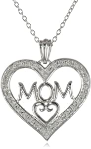 """Sterling Silver """"MOM"""" with Diamonds Heart Pendant Necklace (0.10 cttw, I-J Color, I2-I3 Clarity), 18"""""""
