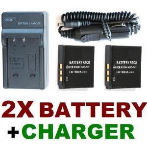 NEEWER® Travel Charger Set (AC Wall + Car Adapter) + Two (2) KLIC-7001 Battery Packs for Kodak EasyShare M763, M853, M863, M893 & M893IS Digital Cameras