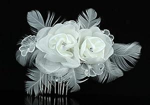 Bridal Wedding Fascinator White Feather Rose Handmade Hair Comb
