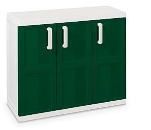 Armario Comfort Line S, Bajo, 3 Puertas - Art. 264 - Toomax - 85X97X37Cm, Blanco Leche/Verde marca Plastmeccanica S.P.A.