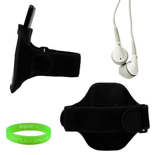 Sweat Resistant Armband For Nokia Lumia 920 In Black From Vg Brand + Earbuds + Wristband