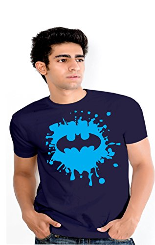 Splash Enquotism Navy Blue Combed Cotton Fabric Round Neck Men Tshirt Batman Splash Navy Blue (Multicolor)