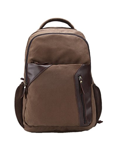 Men'S Retro Preppy Style Canvas Casual Travel Cotton Computer Backpacks Book Bag Fit For 14' Laptop Coffe