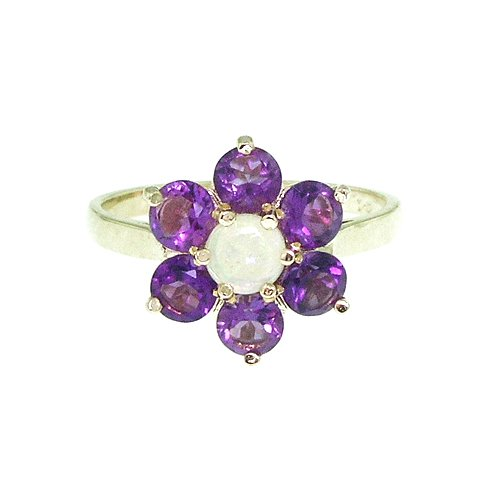 Solid English Yellow Gold Ladies Stunning Luxury Fiery Opal & Amethyst Cluster Ring - Size 8.75 - Finger Sizes 5 to 12 Available