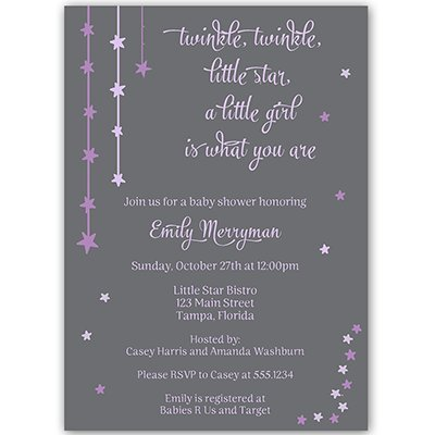 Twinkle Star, Baby Shower Invitation, Purple, Girls, Moon, Sprinkle, 10 Custom Printed Invites with White Envelopes, FREE Shipping (Purple Baby Shower Invites compare prices)