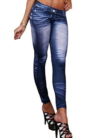 Women Denim Fake Star Jeans Ankle Length Footless Pantyhose Legging Tight