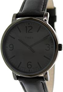 Timex Men's Originals T2P528 Black Leather Quartz Watch with Grey Dial