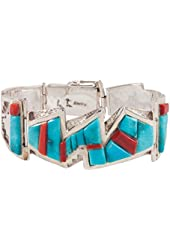Sterling Silver, Navajo Native American Bracelet, Kingman Mine Turquoise and Red Coral, Artist Larry Castillo, 6.5 Inch Overall Length