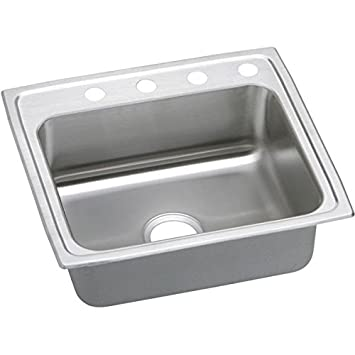 Elkay PSR22192 2-Hole Gourmet 19-1/2-Inch x 22-Inch Single Basin Drop-Inch Stainless Steel Kitchen Sink