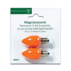 Department 56 Halloween Village Replacement 12 Volt Orange Bulbs Set of 2 800031