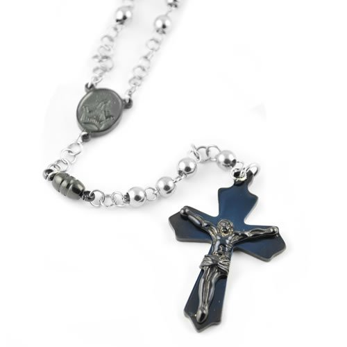 Stainless Steel Rosary Bead Necklace with Black PVD Cross