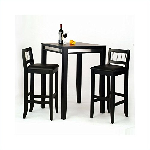 home styles 3piece manhattan pub table and stools set black finish