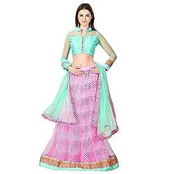 Admyrin Women Pink Net Lehenga Choli