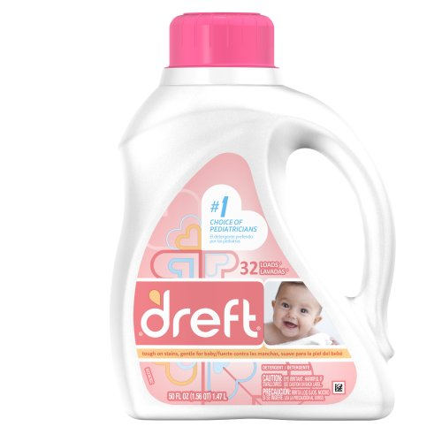 Dreft Baby Liquid Laundry Detergent, 32 Loads, 50 Fl Oz (Pack of 2) (Packaging May Vary)