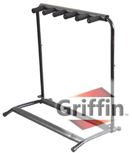 5 Five Multiple Guitar Bass Stand Holder Stage Folding Multi Rack Griffin